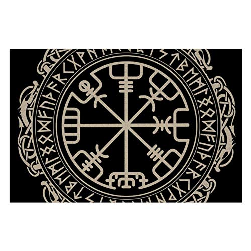 1000 Pieces Jigsaw Puzzles, Educational Toys Fun Games Challenging Puzzle, Black Celtic Viking Design Magical Runic Compass Vegvisir in The Circle of Norse Runes and Dragons Tattoo Decorative