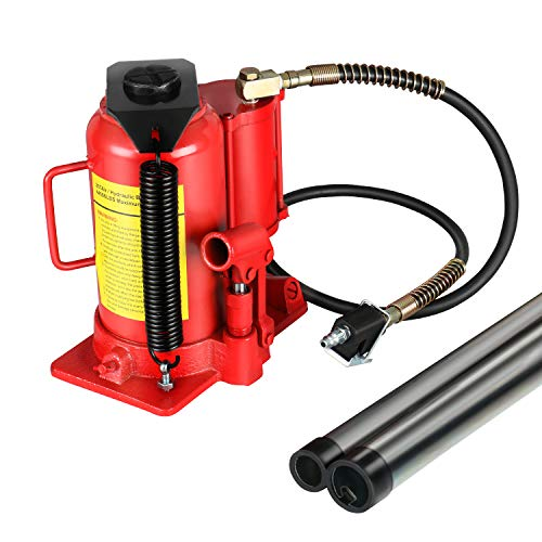 FULLWATT Red Air Hydraulic Bottle Jack 22 Ton Capacity Operated Bottle Manual Jack Lift Air Jack with Handle