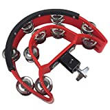 Drum Set Tambourine with Mounting Eye Bolt,Hi Hat tambourine(Black,Red) (10 double rows of jingles, Red)