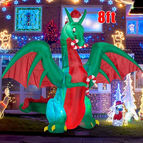 BLOWOUT FUN 8ft Inflatable Christmas Dargon with Candy Disco LED Lighted Blow Up Decor Indoor Outdoor Holiday Art Decor Decorations