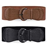 2 Pack JASGOOD Women Stretchy Wide Waist Belt for Dress Ladies Elastic Belt Hook Buckle (Black+Brown, Suit for Waist Size 31-38 Inches)