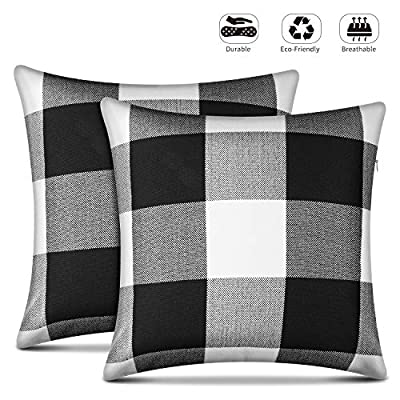 Leafbay Buffalo Check Throw Pillow Covers – Set of 2 Farmhouse Decorative Pillowcases for Home Decor, Sofa, Bedroom, Car, 100% Linen Cushion Case with Plaids on Both Sides, 18 x 18 Inch