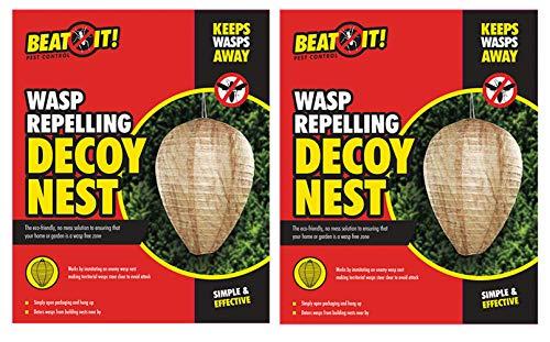 BEAT IT, Set di 2 nidi repellenti per vespe, Carta da Appendere, deterrente per Insetti territoriali