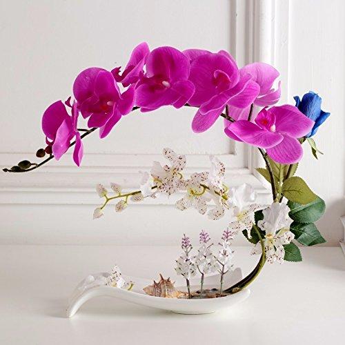 USDFJN Phalaenopsis Artificiel Décoration Vase Faux Purple