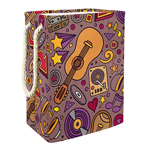 Cesta De Almacenamiento Notas musicales de piano Cesto De Ropa Plegable Para El Hogar Simple 49x30x40.5 cm