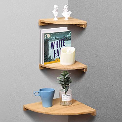 Yankario Corner Wall Shelf Set of 3 Solid Beech Wood Floating Shelves Wall Mounted Natural