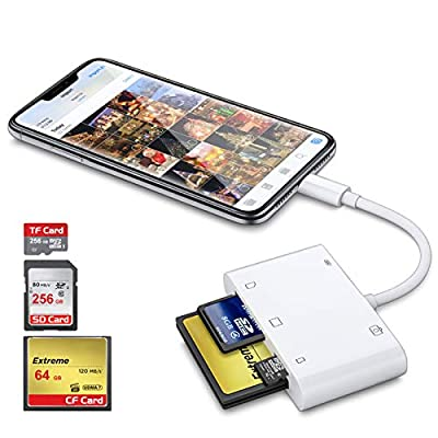 DenicMic SD CF Card Reader for iPhone iPad, 5 in 1 SD CF TF Memory Card Reader Adapter Camera Card Reader Trail Game Camera Viewer for iPhone 12/11/X/8 Plus/8/7 Plus/7, iPad Mini/Air, No App Required from DenicMic