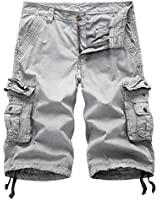 Leward Men's Cotton Twill Cargo Shorts Outdoor Wear Lightweight (34, Light Grey)