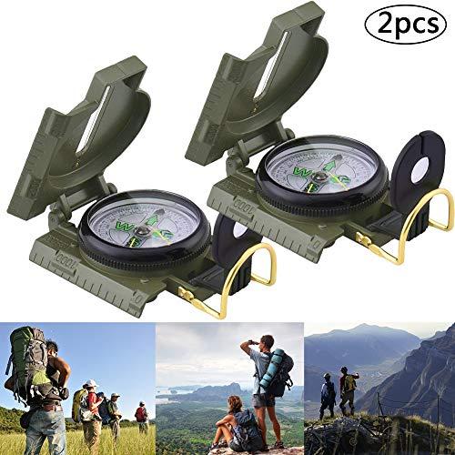 Militar Brújula, BETOY 2 pcs Profesional Brujula Multifunción Brújula de Bolsillo Militar para Viajes Montañismo Excursión, Color Camuflaje