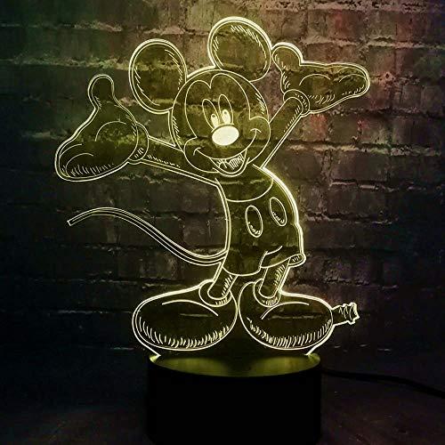 Schattige muis 3D Illusie Lamp, LED 3D Nachtlampje 7 Kleuren veranderen, met Smart Touch & USB-kabel voor nachtdecoratie en Kids Kerstmis Verjaardagscadeaus