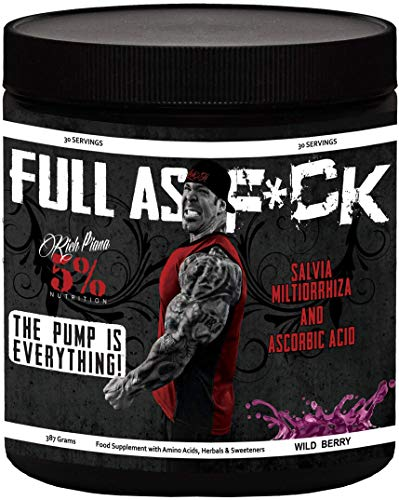 5% Nutrition - Rich Piana Full As F*ck (30 sers) Wild Berry Pack zonder statief, 387 g