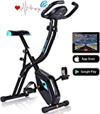 ANCHEER Exercise Folding Bike, Stationary Cycle Indoor Upright Bike, Compact Magnetic Recumbent Bike