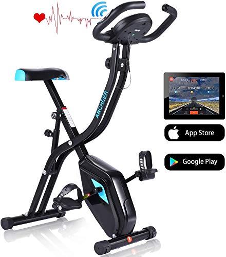 ANCHEER Heimtrainer Fitness Bike, faltbar, F-Bike, Indoor Bike Bike zu Hause, Fitness Bike mit 11 Stufen, Verstellbarer Magnetwiderstand und Armtrainingsbändern