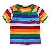 LittleSpring夏 ベビー 半袖tシャツ 男の子 ボーダー柄 キッズTシャツ 半袖シャツ 80
