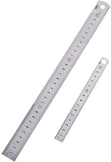 ステンレス直尺 定規 300mm(大)x1、150mm(小)x1、 2本セット「ミリメートルとインチの交換表付き」