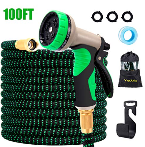 YOJULY 100ft Expandable Garden Hose - Super Durable 3750D Garden Water Hose/Strongest Triple Latex Core with 3/4' Solid Brass Fittings ,Durable Outdoor Gardening Flexible Hose for Watering (100FT)