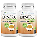 Turmeric Curcumin with Bioperine - 360 Veggie Capsules - 2250mg 95% Curcuminoids Highest Max Potency with Black Pepper for Anti-Inflammatory Joint Pain Relief Pills - Supplement with Triphala