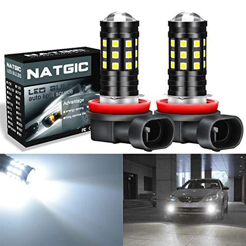 NATGIC H11 H8 H9 Ampoule LED Blanc Xenon 2700LM 6500K 3030 27SMD avec Projecteur à lentille pour Ampoules antibrouillards DRL Feux de Jour 12V-24V (2 pièces)