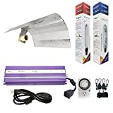 Hydroplanet™ Horticulture 1000w Hydroponic 1000w Watt Grow Light Digital Dimmable Ballast HPS Mh System Kit for Plants Gull Wing Reflector Hood Set (1000w)