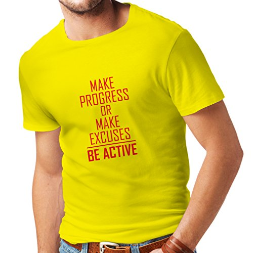 lepni.me Camisetas Hombre Sea Activo - viviendo sin Excusas - motivacion - Citas diarias Inspiradoras para el éxito (X-Large Amarillo Rojo)