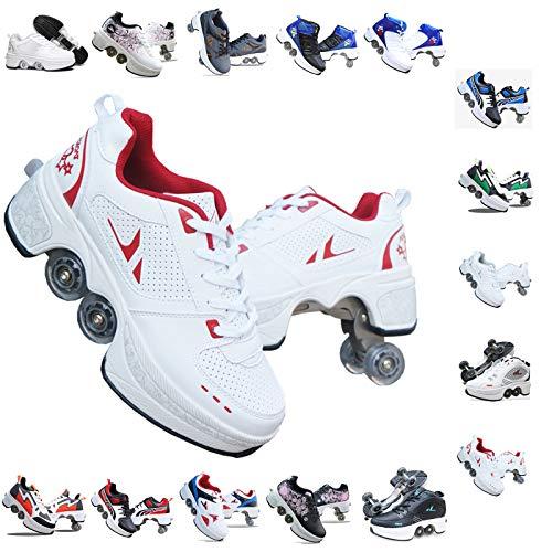 PLMOKN Rolschaatsen voor vrouwen 4 wiel verstelbare quad rolschaatsen laarzen, 2-in-1 multifunctionele schoenen, jongens meisjes universele wandelschoenen, G-36