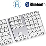 Bluetooth Number Pad, Lekvey Aluminum Rechargeable Wireless Numeric Keypad Slim 34-Keys External Numpad Keyboard Data Entry for Laptop, MacBook, MacBook Air/Pro, iMac, Windows, Surface Pro - Silver