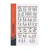 FitMate Kettlebell - Póster de ejercicio de ejercicio – rutina de entrenamiento con pesas libres, decoración del gimnasio en casa, guía de habitación (16.5 x 25 pulgadas)