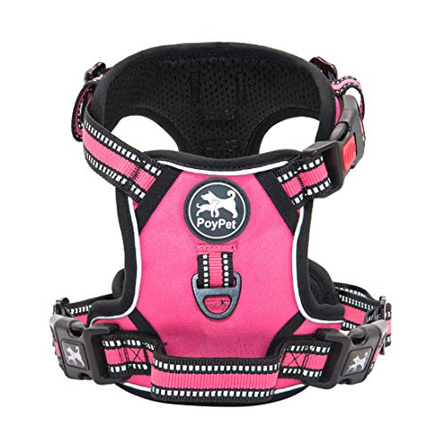 PoyPet No Pull Dog Harness, [Release on Neck] Reflective Adjustable No Choke Pet Vest with Front & Back 2 Leash Attachments, Soft Control Training Handle for Small Medium Large Dogs(Pink,S)