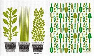 Jangneus Swedish Dishcloth/Sponge Cloth Eco-Friendly/Compostable Herb Garden Designs (2-Pk Herbs + Garden Tools)