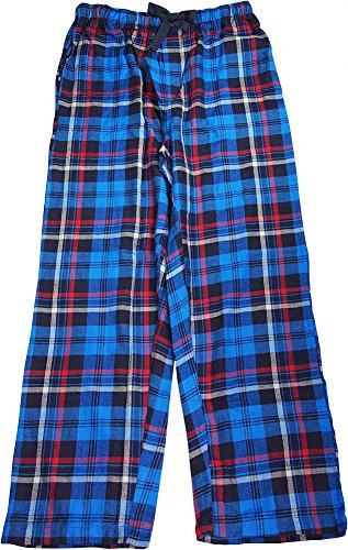 IZOD - Mens Cotton Woven Plaid Sleep Lounge Pant, Navy, Royal 39673-Large