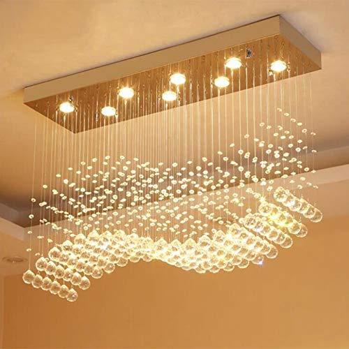 LIANGANAN Moderno LED del rectángulo de la sala K9 lámparas de cristal accesorios ligeros for Cafe Oficina cubierta principal de la lámpara Accesorios (Emitting Color : Cold White)