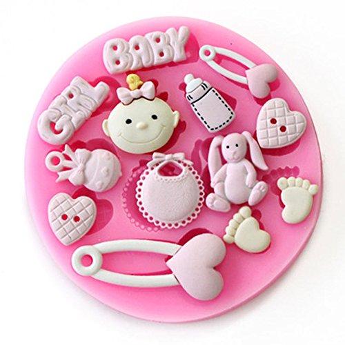 AbleGrow (TM) Party Baby Shower-Stampo 3D in Silicone per decorazioni di pasta di zucchero, a forma di cuore