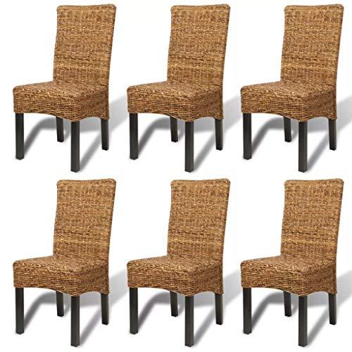 vidaXL Sillas de comedor 6 unidades abacá marrón