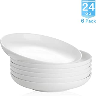 Zoneyila 24 Ounces Porcelain Salad Pasta Bowls,6 Pack Large Serving Bowl Set,Wide and Flat,White