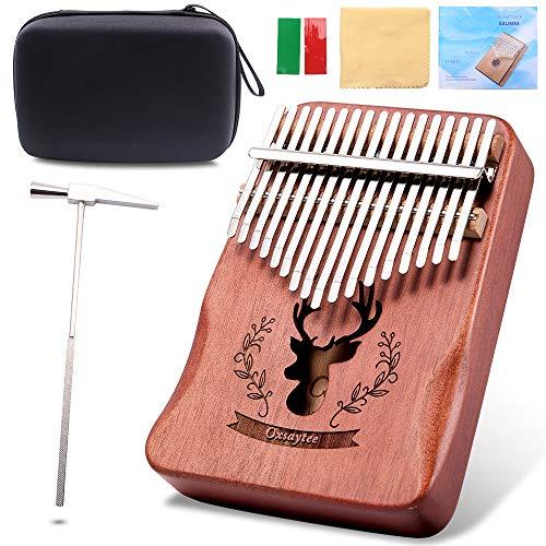 Kalimba 17 Schlüssel Daumenklavier, Oxsaytee Marimbaphone High Qualität Professionelle Finger Daumen Piano Musikinstrument Geschenk mit Lernanleitung und Stimmhammer
