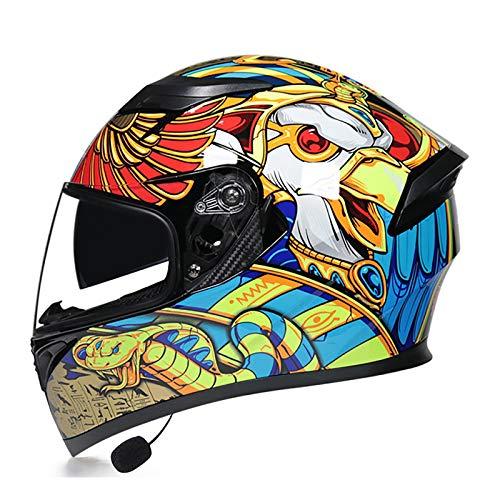 Bluetooth Casco de Moto Integral,ECE Homologado HD Anti-Fog Doble Visera Casco de Motocicleta Cascos Integrales Protección Crash Casco con Altavoz Incorporado Micrófono Auricular E,L=58~60cm