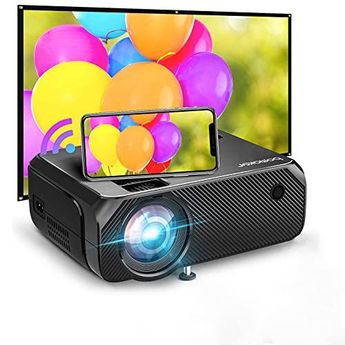 BOMAKER Proyector WiFi, Proyector Full HD 1080P Nativo Soporte para Exteriores, Proyector de Juegos Nativo 720P, iOS / Android / Laptop / PS5 / Win10, Compatible con TV Stick