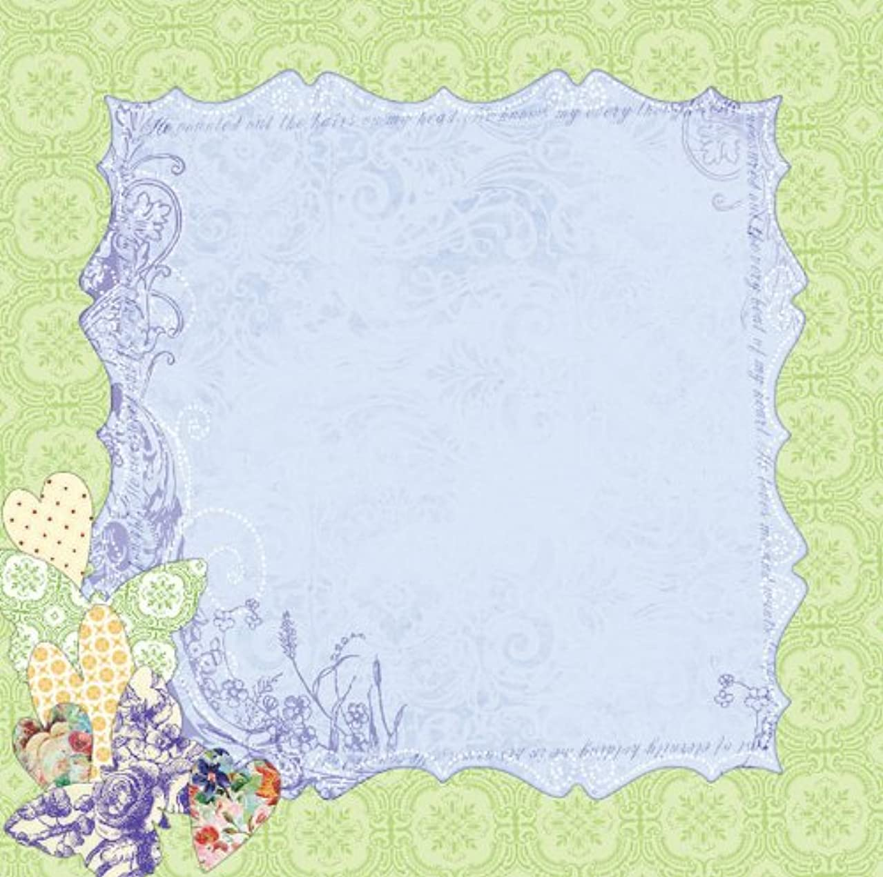 Prima 813291 12 by 12-Inch Art Stitched Mulberry Paper, Purple Hearts