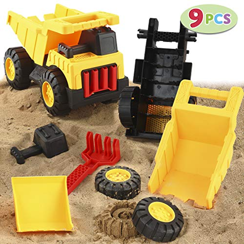 JOYIN 9 PCS Take Apart Assemble Construction Truck Beach Sand Toy Set for Kids Outdoor Play Includes Shovels Rake Spoon Castle Mold and Sand Sifter