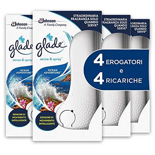 Glade Sense & Spray, ambientadores para ambiente, fragancia Ocean Adventure, 4 dispensadores y 4 recambios