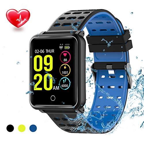 TagoBee TB06 IP68 Impermeabile Intelligente Orologio HD Touch Screen Fitness Tracker Supporto Pressione sanguigna frequenza cardiaca monitoraggio del Sonno pedana Compatibile con Android e iOS(Blue)