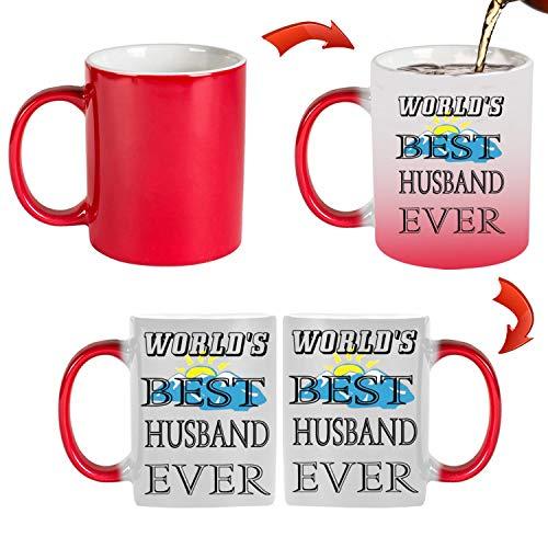 World's Best Husband Ever - Taza de 325 ml con cambio de color, la mejor taza de regalo, regalo de cumpleaños, varios colores para elegir