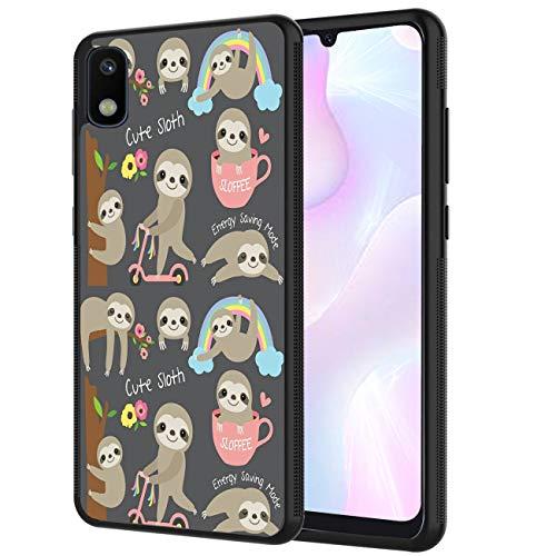 Galaxy A10E Case, AOWSSE Cute Sloth Customized Design Printed Hybrid Hard Plastic Back Flexible Shock Soft TPU Bumper Protective Phone Case for Samsung Galaxy A10E (2019 Release)