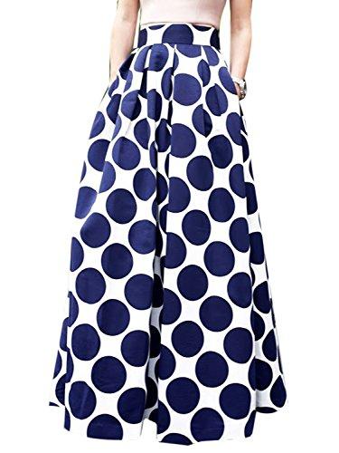 CHOiES record your inspired fashion Women's White Contrast Polka Dot Print Maxi Skirt 10