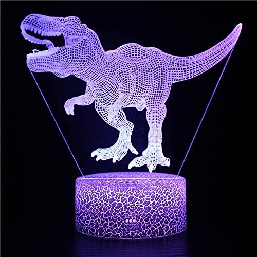 3D Animal Led Luz de noche Lámpara de ilusión de cabecera Dinosaurio Niños Mesa Decoración del hogar Para cumpleaños Aniversario Navidad-7 colore no remoto