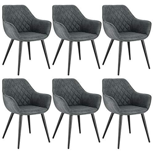 WOLTU Esszimmerstühle BH231gr-6 6er Set Küchenstühle Wohnzimmerstuhl Polsterstuhl Design Stuhl mit Armlehne Grau Gestell aus Stahl Stoffbezug