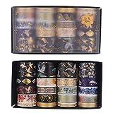 Gitua 20 Rollen Washi Tape Set, Folie Gold Dekorative Klebeband für Scrapbooking Journal DIY Handwerk Geschenke Dekoration (Schwarz)