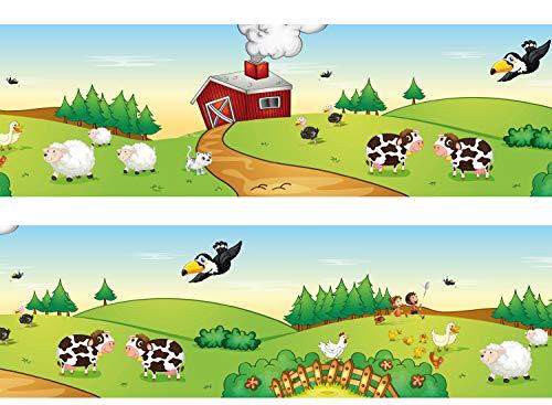 wandmotiv24 Bordüre Farmleben 260cm Breite - Vlies Borte Tapetenbordüre Bordüren Borde Wandborde Kinder Bauernhof Schaf M0014