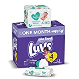 Diapers Size 4, 172 Count and Baby Wipes - Luvs Ultra Leakguards Disposable Baby Diapers, ONE Month Supply with Pampers Sensitive Water Based Baby Diaper Wipes, 6X Pop-Top Pack, 336 Total Wipes