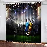 WLHRJ Cortina Opaca en Cocina el Salon dormitorios habitación Infantil 3D Impresión Digital Ojales Cortinas termica - 160x115 cm - Jugador de fútbol